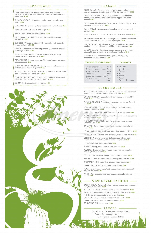 menu for The Garden