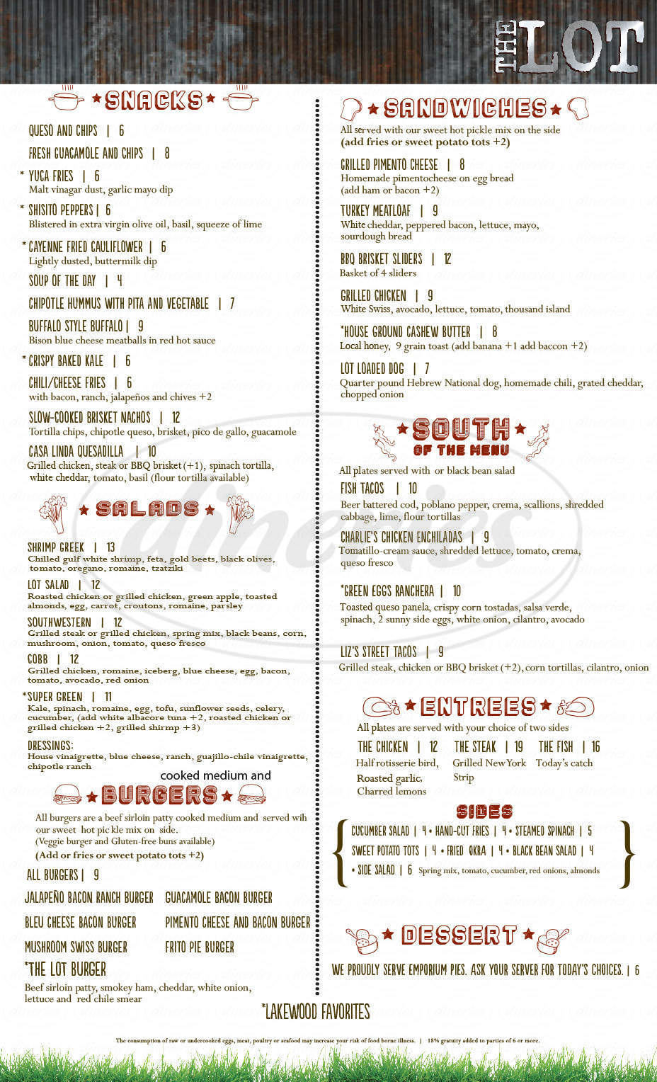 menu for The Lot