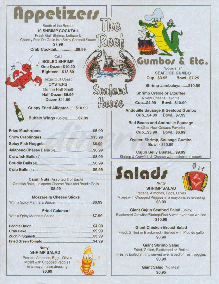 menu for The Reef Seafood House