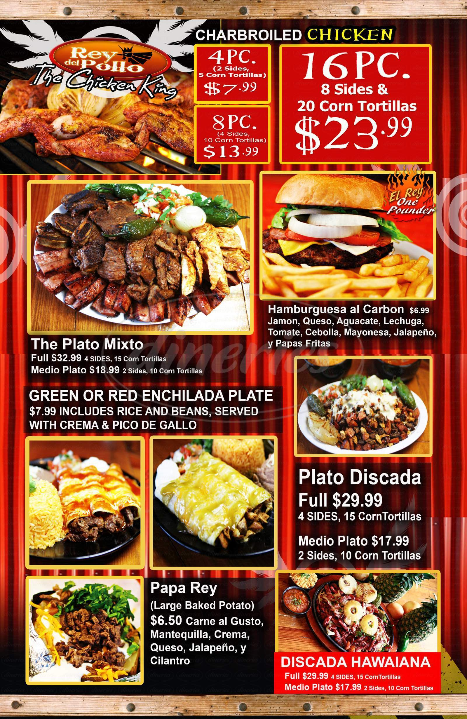 menu for Rey De Pollo