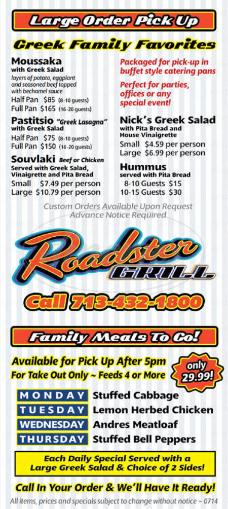 menu for Roadster Grill