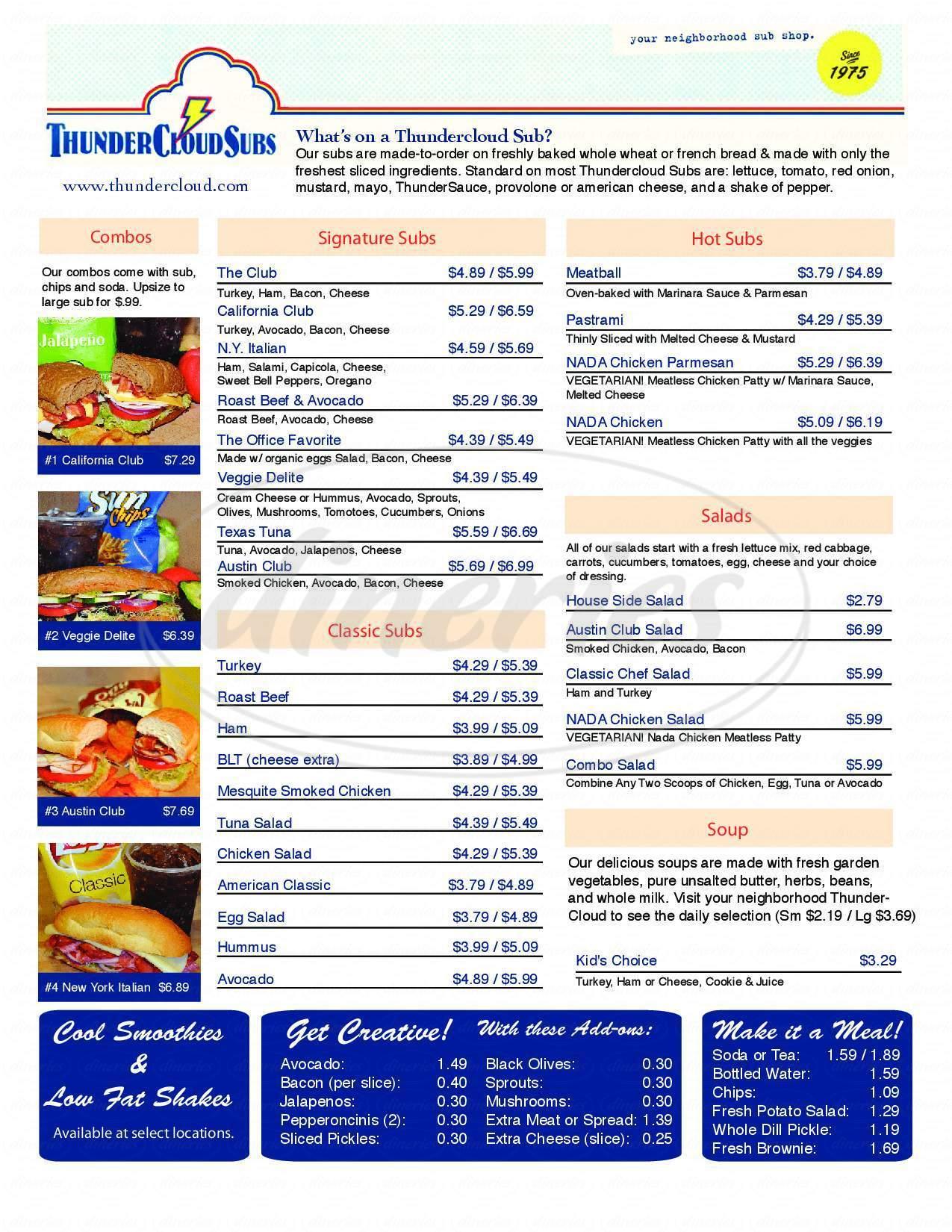 menu for Thundercloud Subs