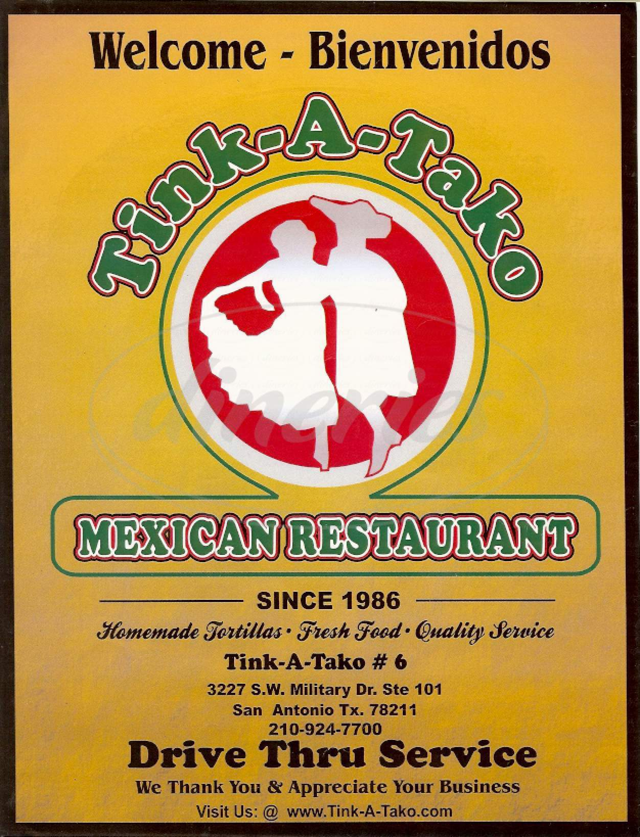 menu for Tink A Tako