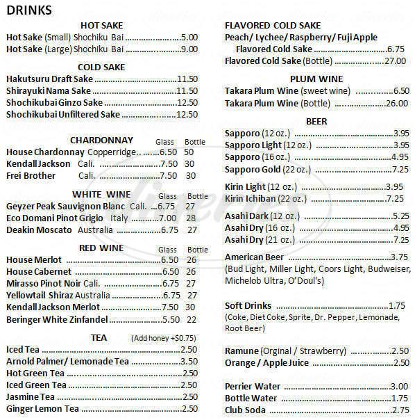 menu for Tokyo Bowl