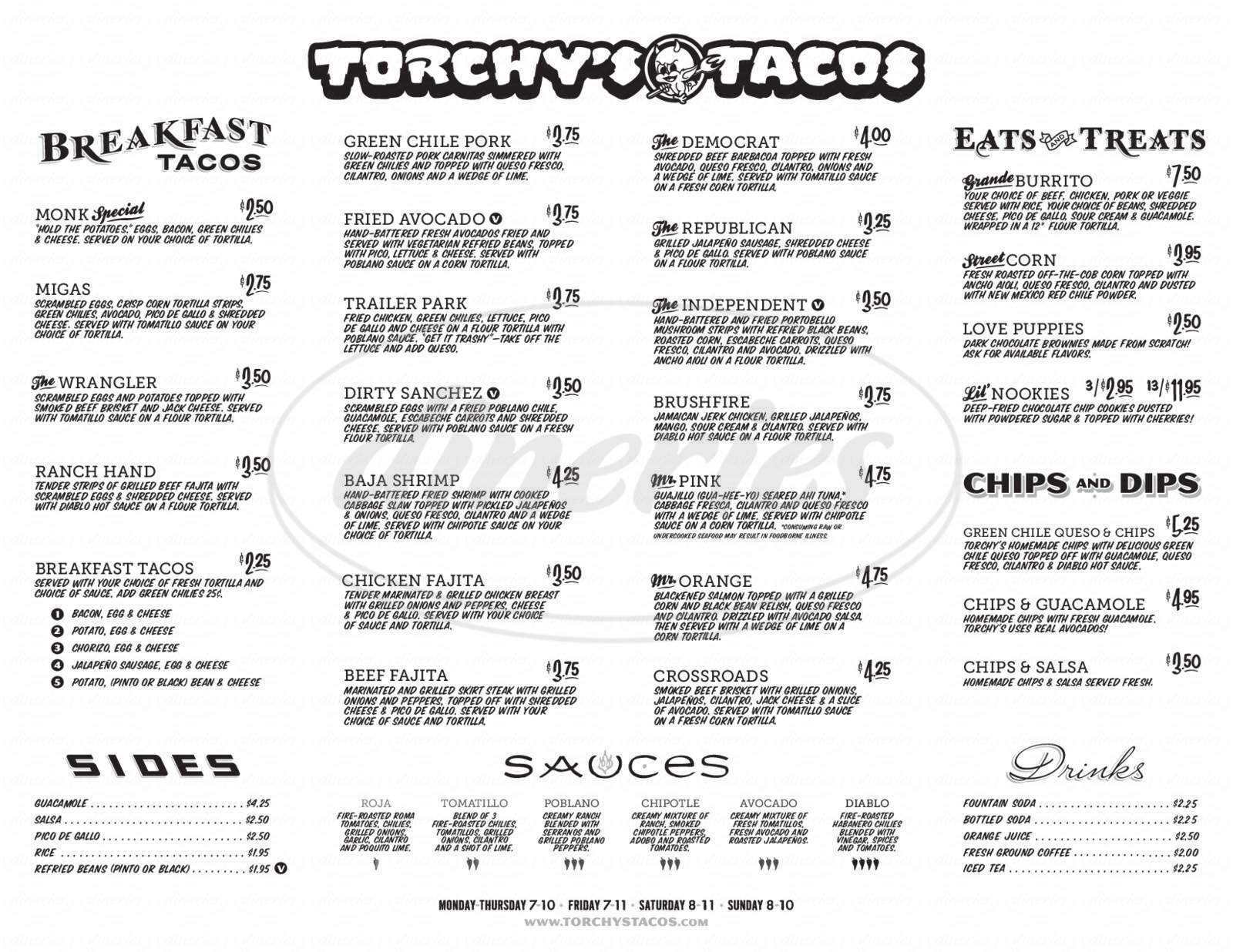 menu for Torchy's Tacos