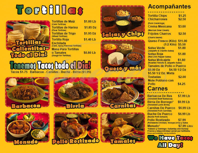 menu for Tortilleria & Taqueria La Reyna