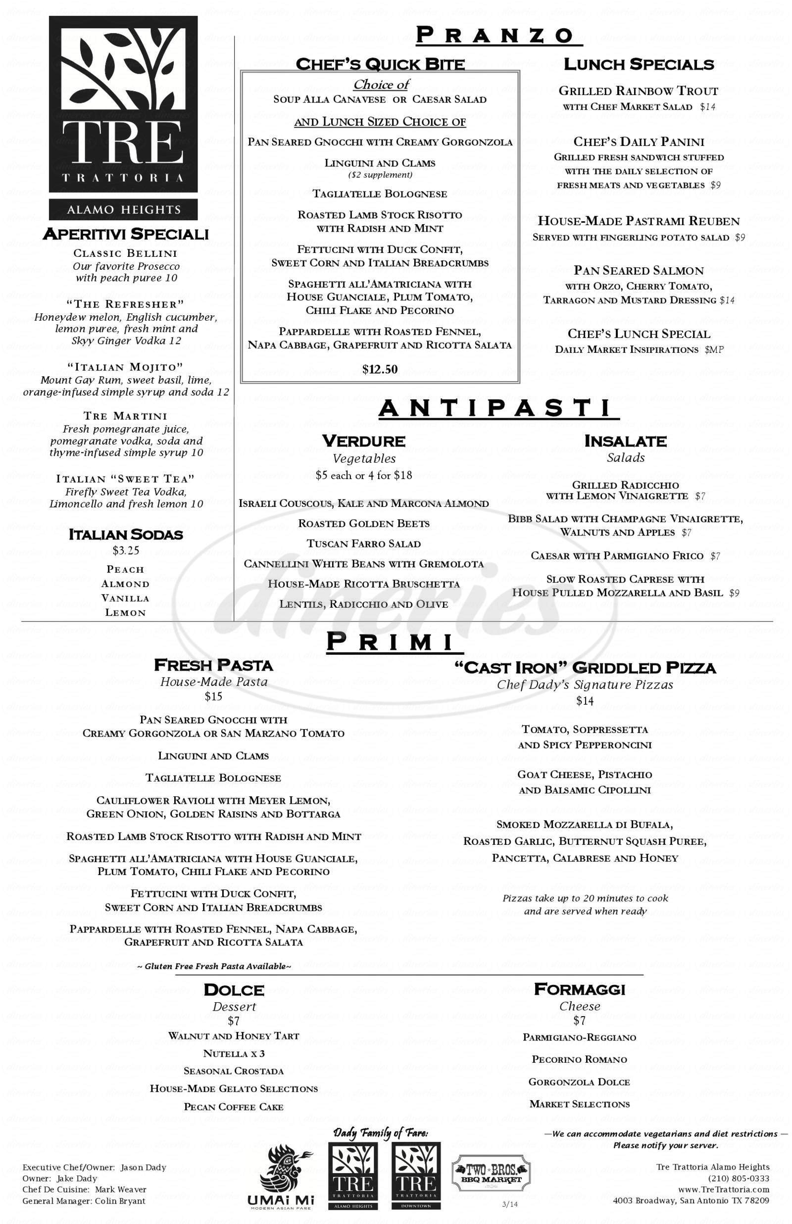 menu for Tre Trattoria