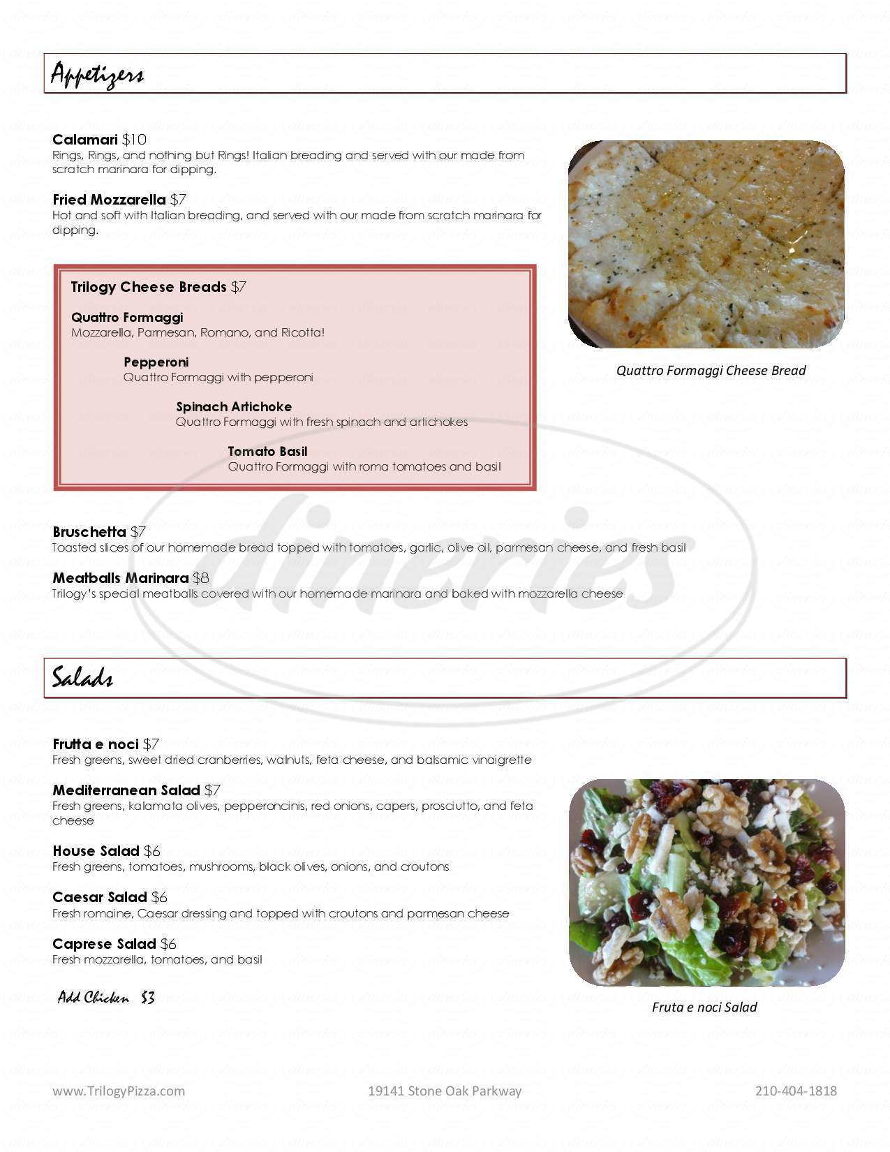 menu for Trilogy Pizza & Wine Bistro