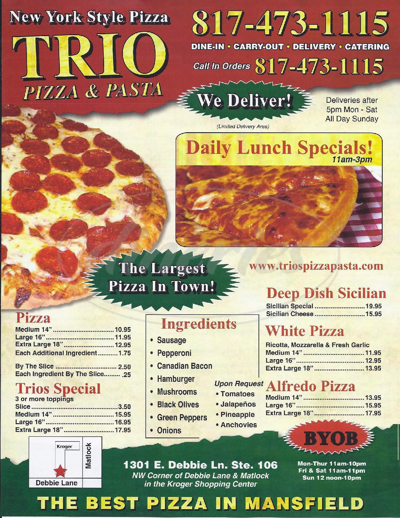 menu for Trio's Pizza Pasta