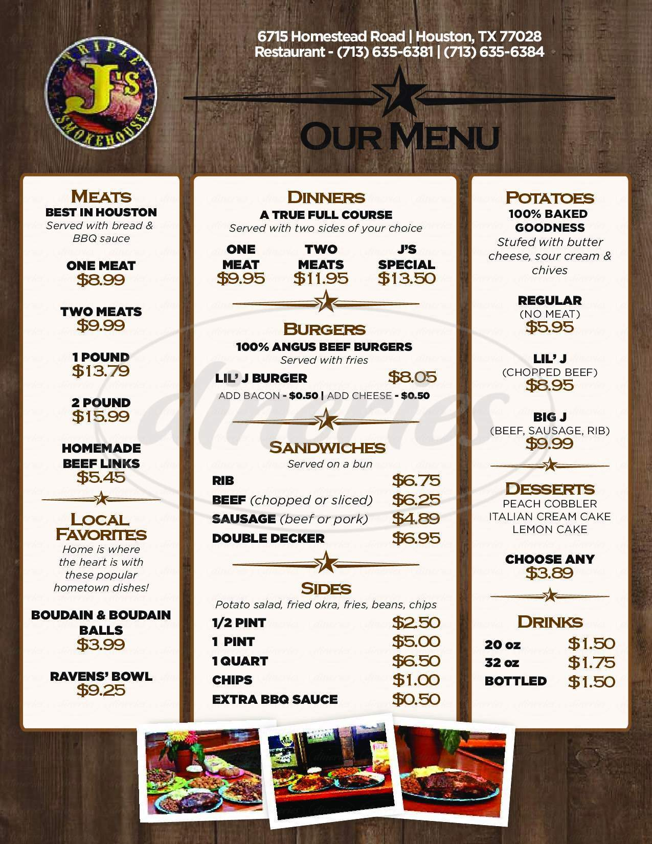 menu for Triple J's Smokehouse