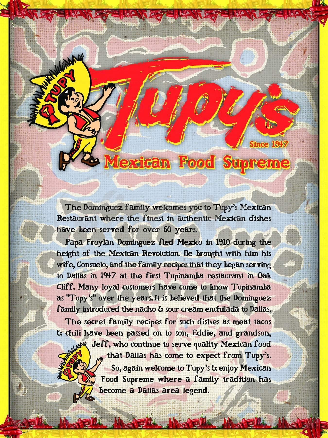 menu for Tupy's Mexician Food Supreme
