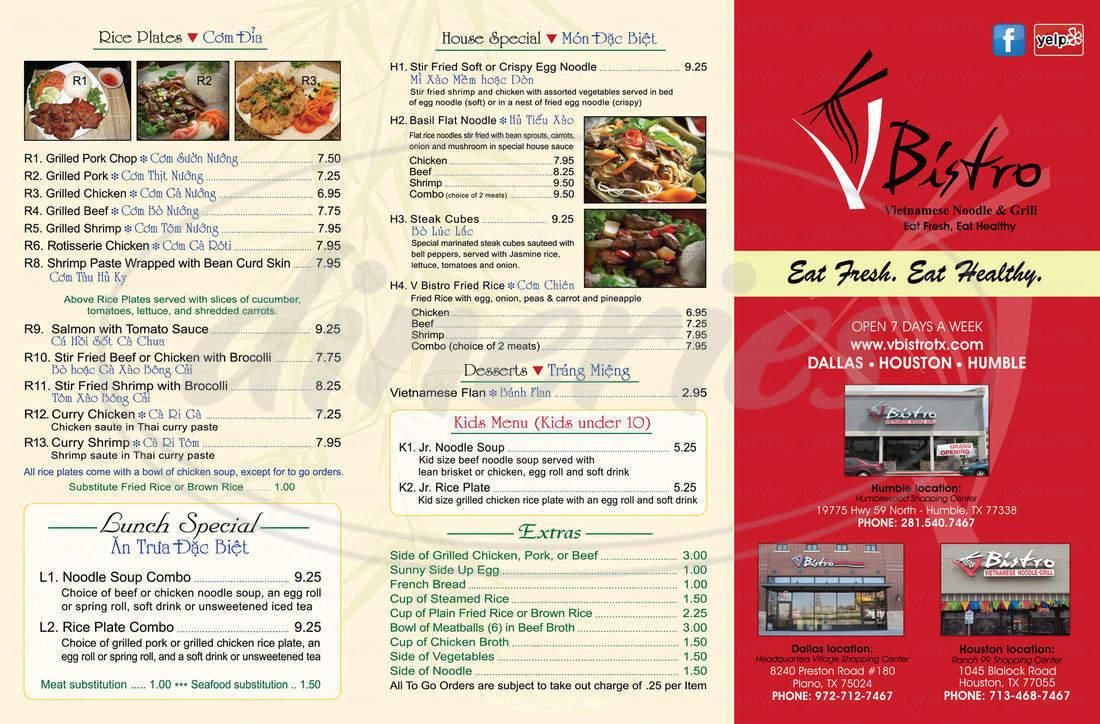 menu for V Bistro