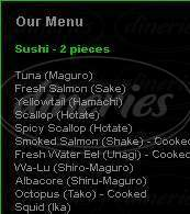 menu for Wazabi Sushi Bar