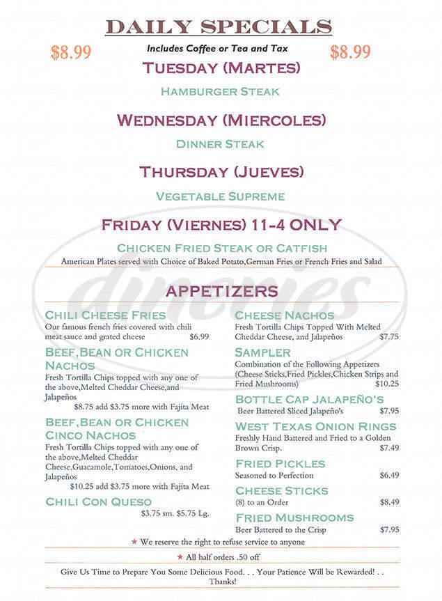 menu for Western Sky Steakhouse