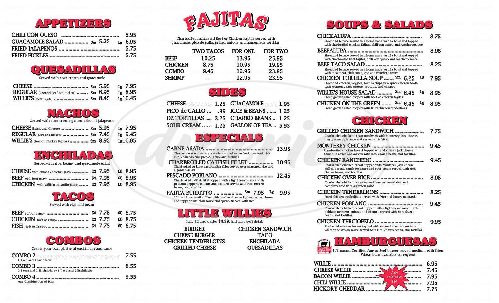 menu for Fajita Willie's