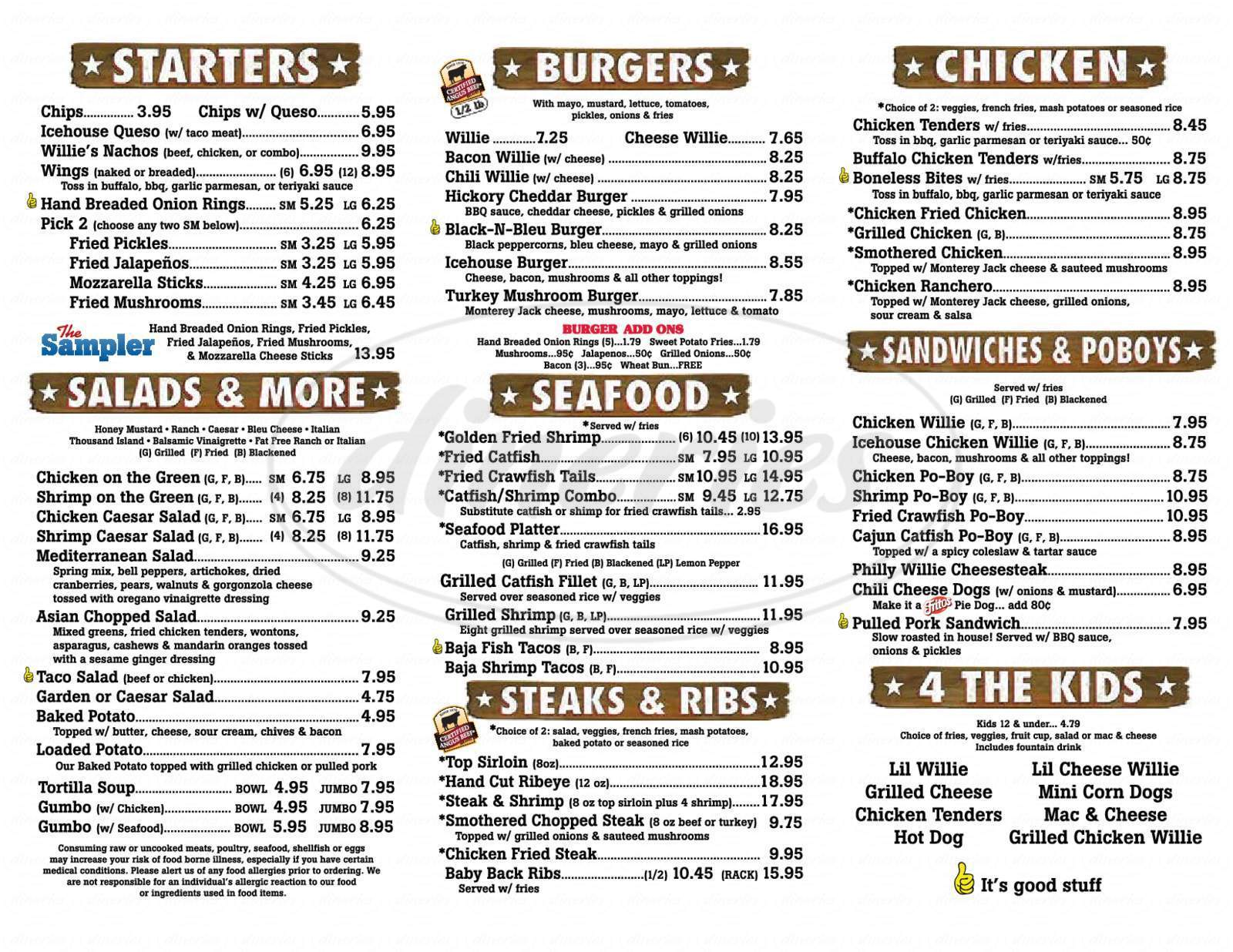menu for Willie's Grill & Icehouse