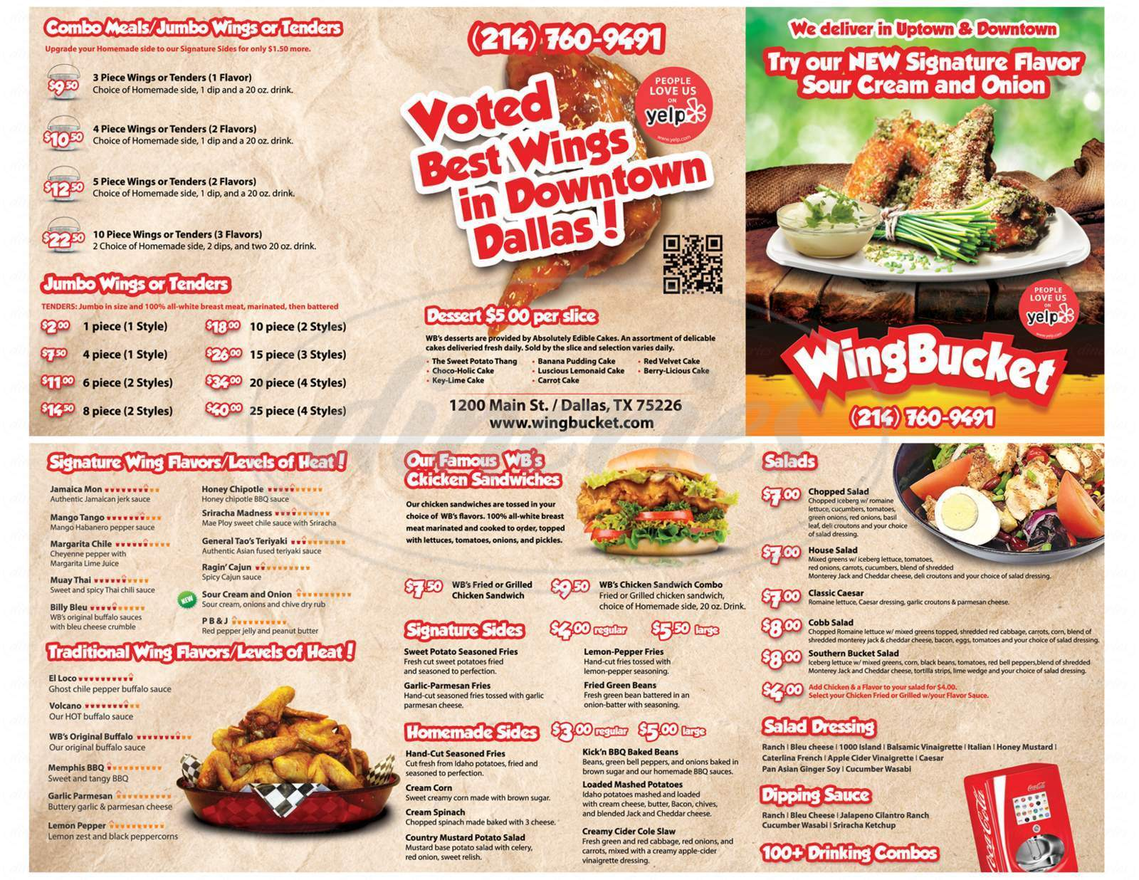 menu for Wing Bucket