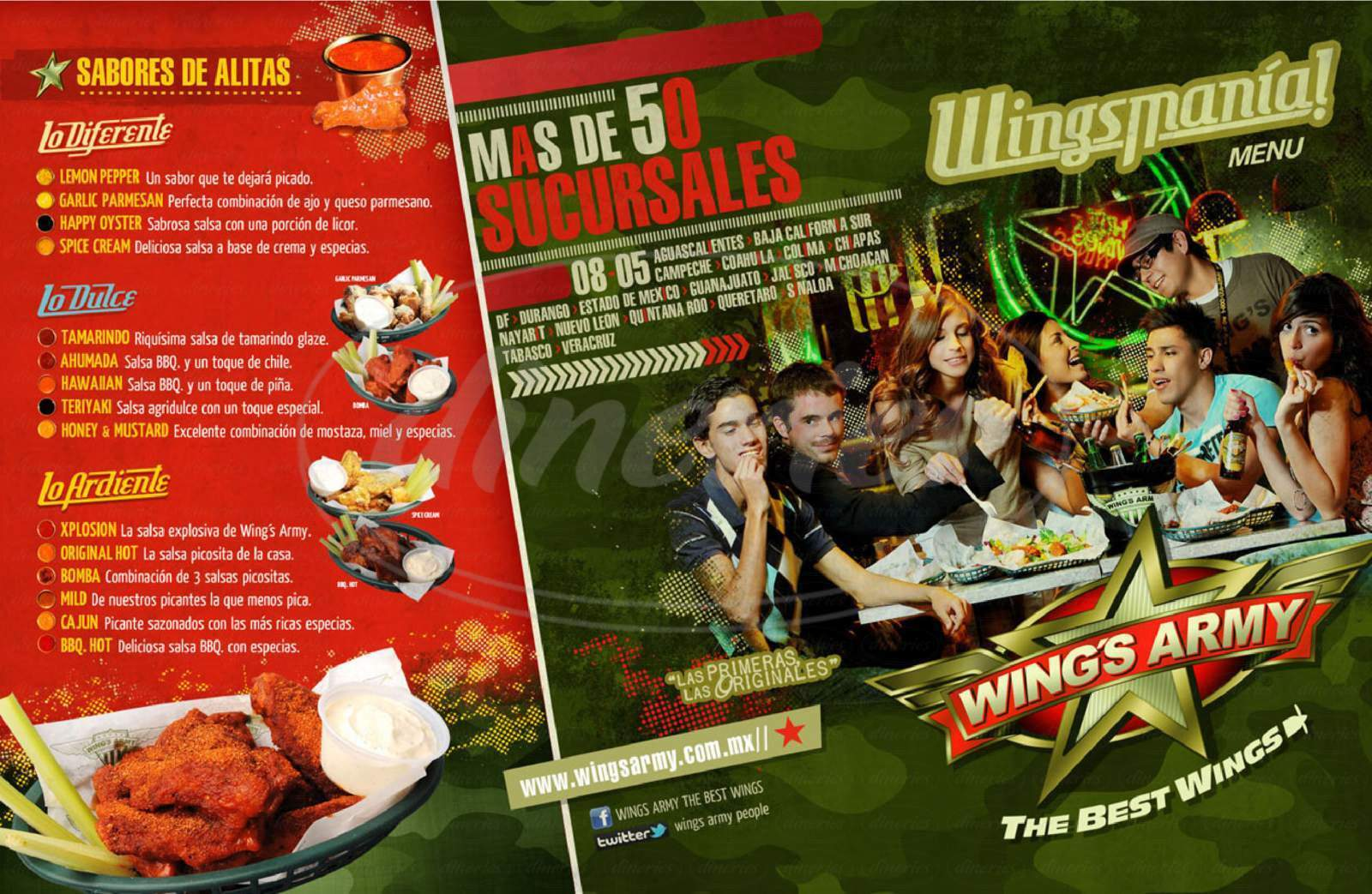 menu for WINGS ARMY