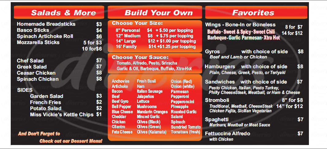 menu for Wise Guys Gourmet Pizza