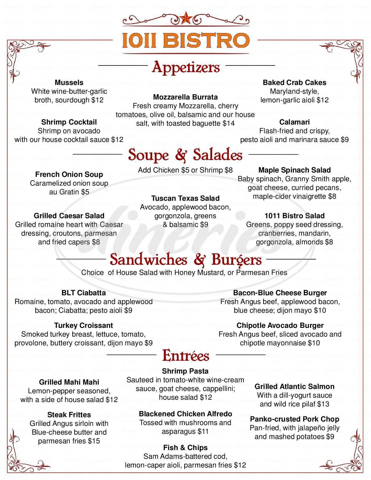 menu for 1011 Bistro