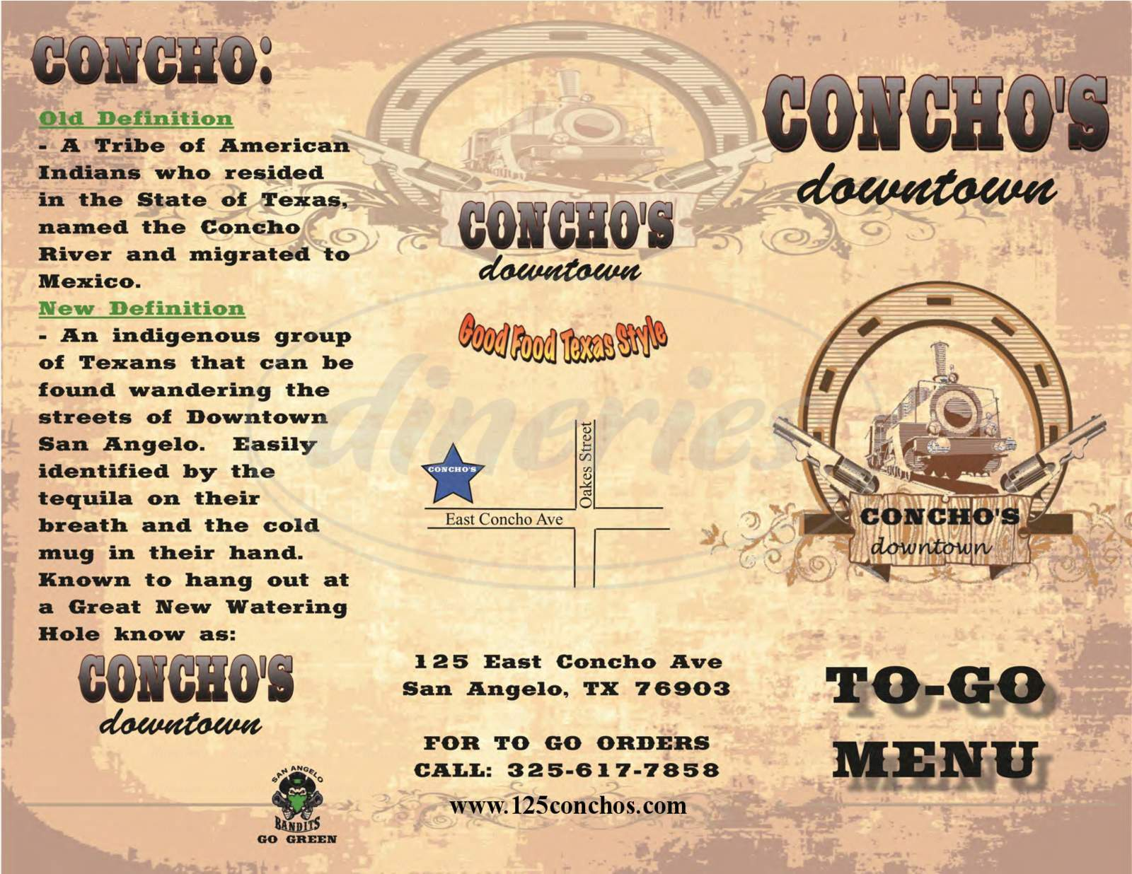 menu for Concho's Downtown