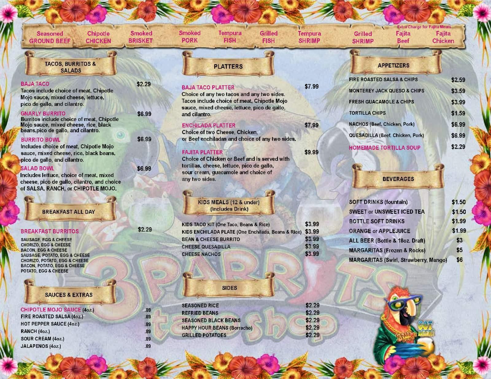 menu for 3 Parrots Taco