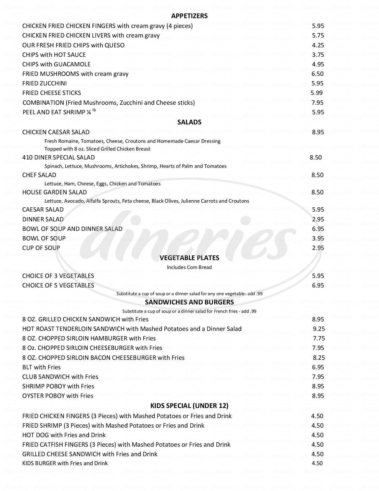 menu for 410 Diner