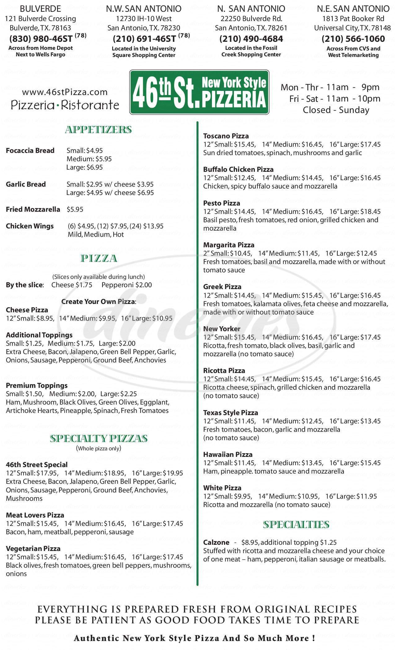 menu for 46th St. New York Style Pizzeria