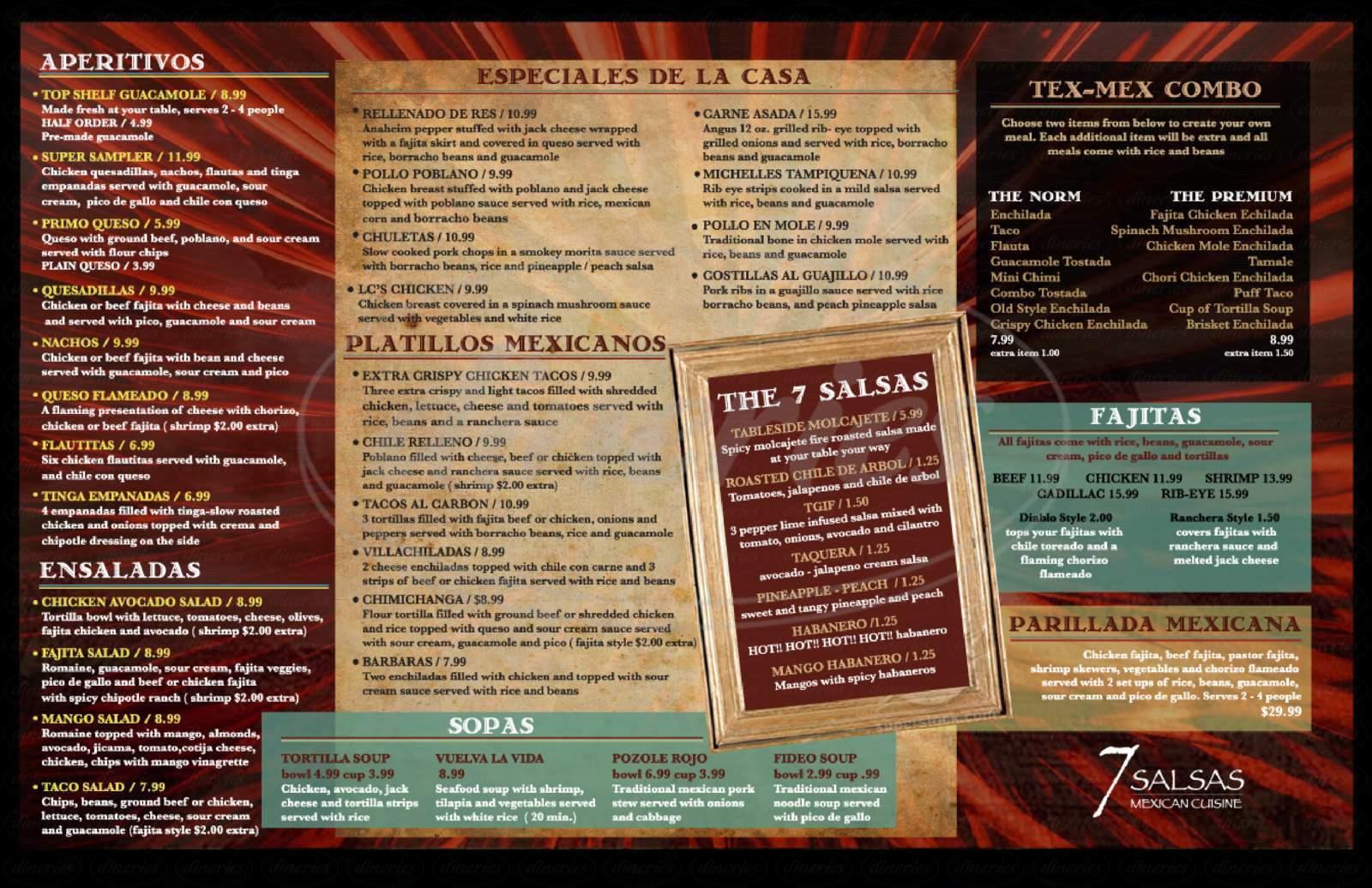 menu for Seven Salsas
