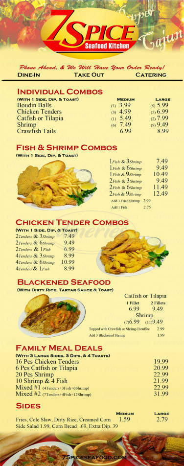 menu for 7 Spice Cajun Seafood Kitchen