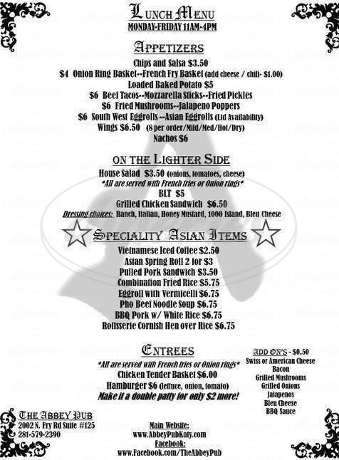 menu for The Abbey Pub