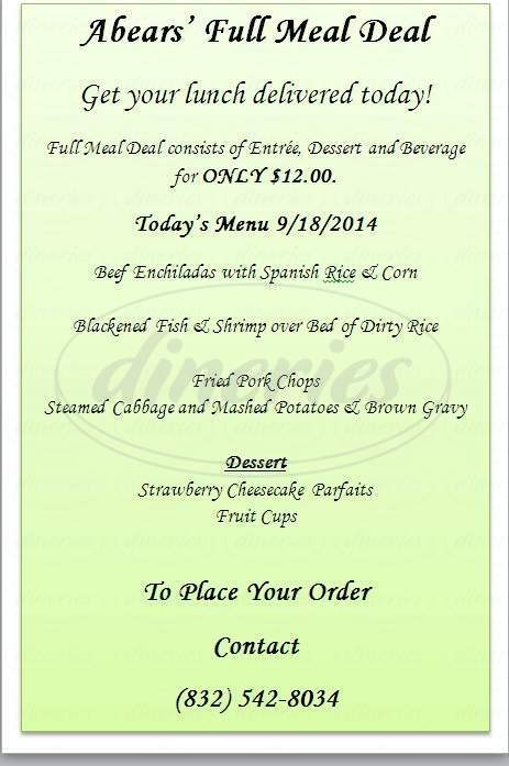 menu for Abears Catering Service