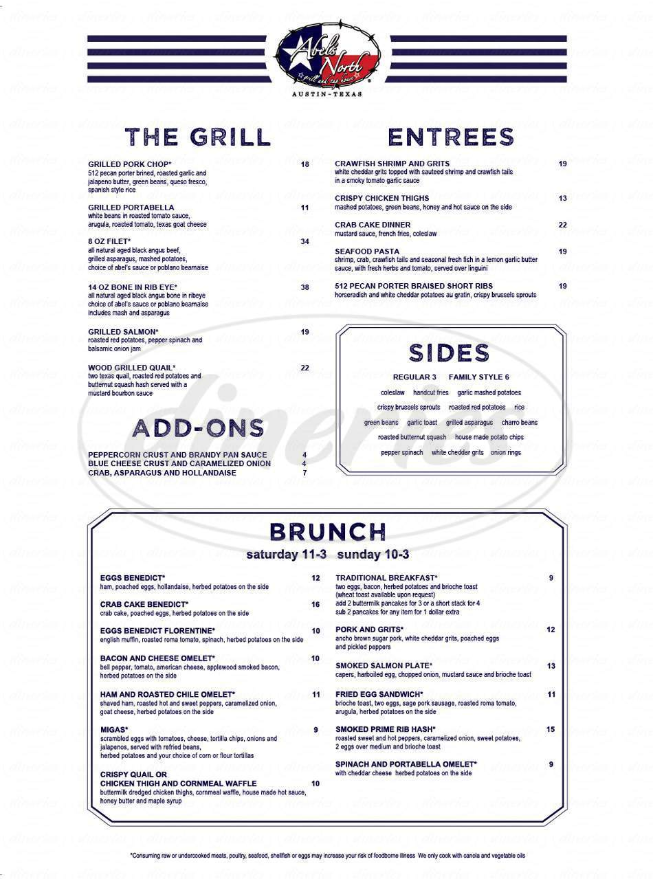 menu for Abel's North Grill and Tap House