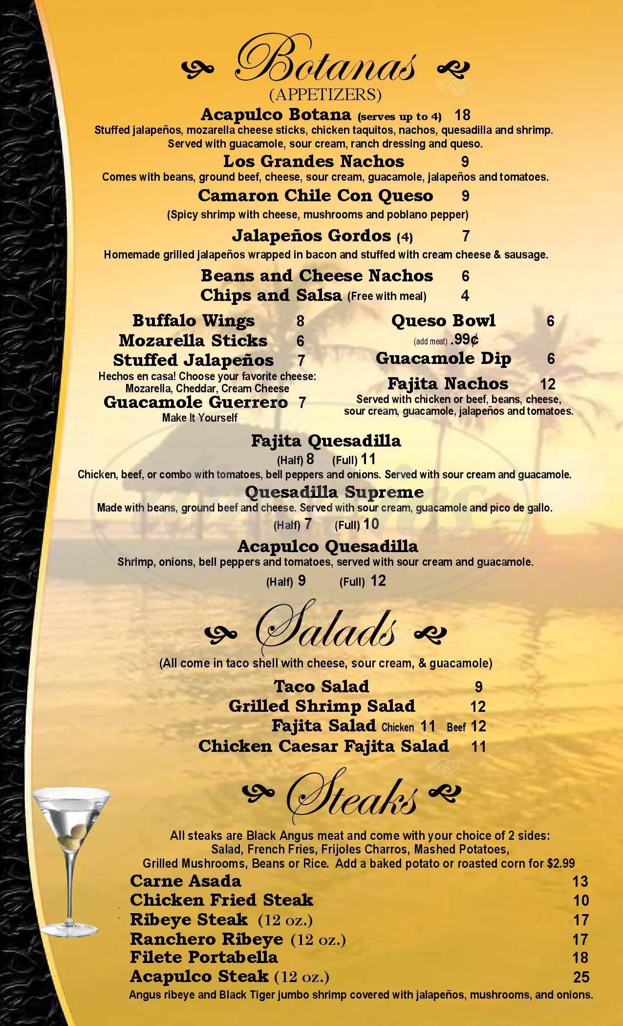 menu for Acapulco Mexican Restaurant