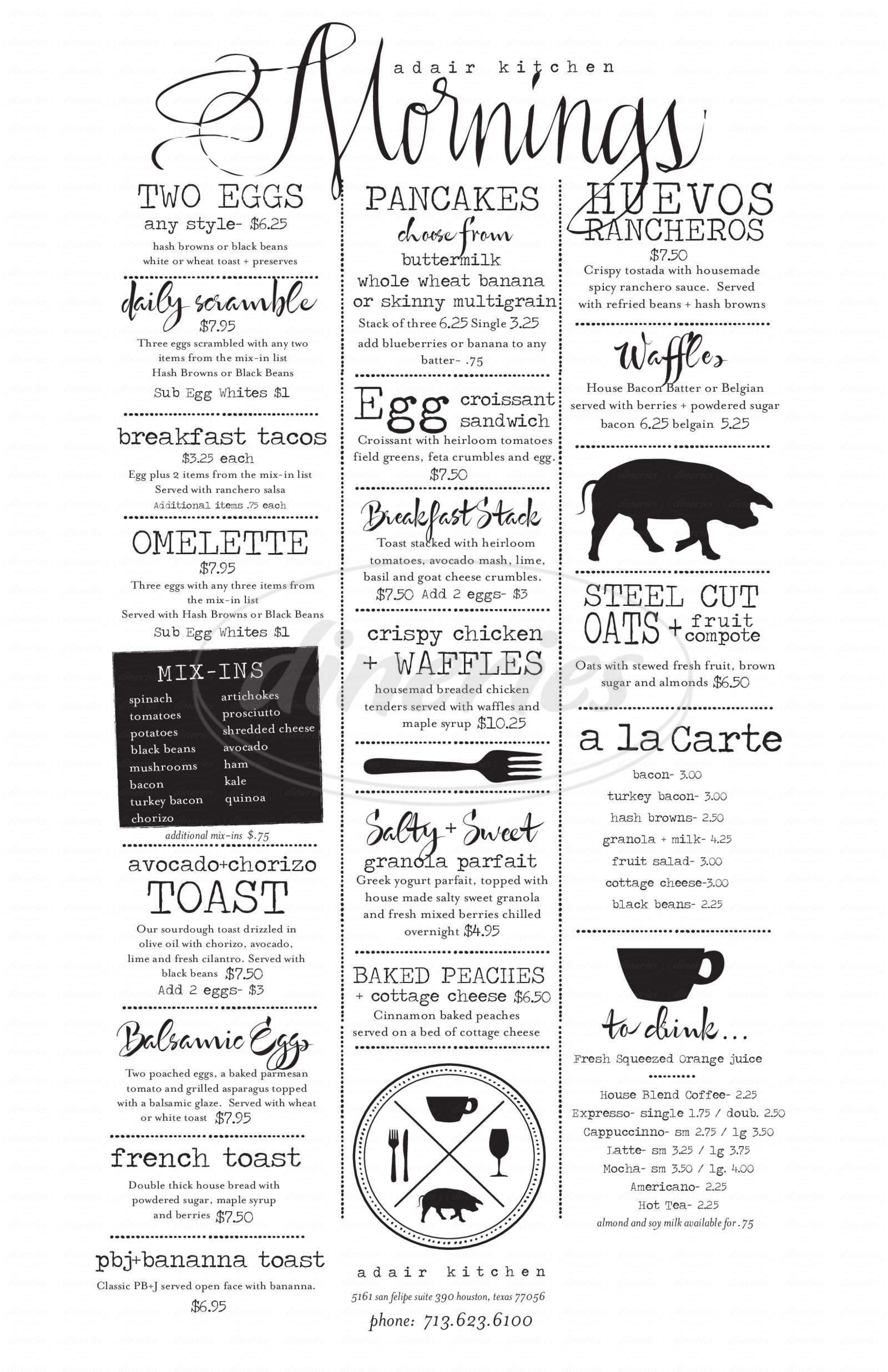 menu for Adair Kitchen
