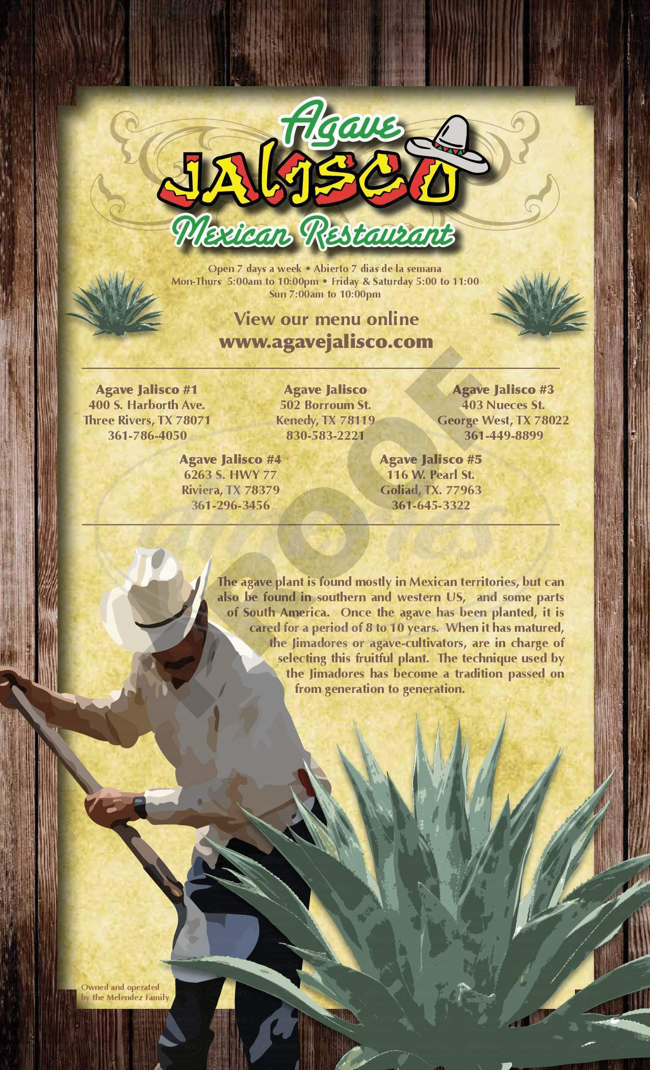 menu for Agave Jalisco Resturant
