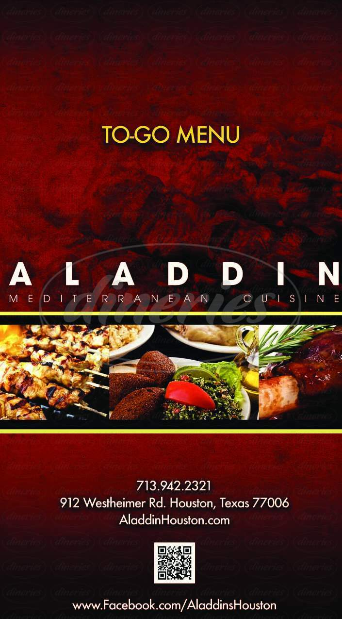 menu for Aladdin Mediterranean Cuisine