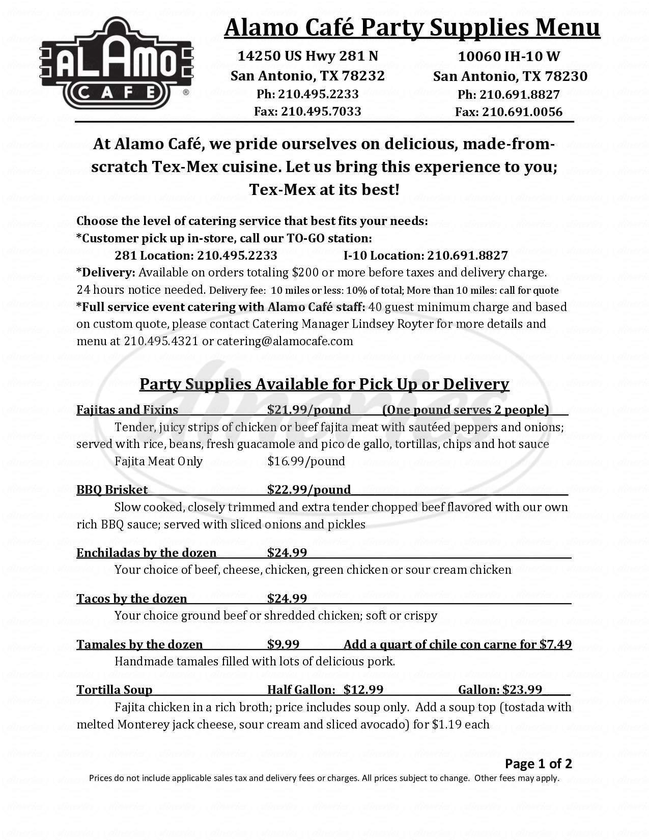 menu for Alamo Cafe
