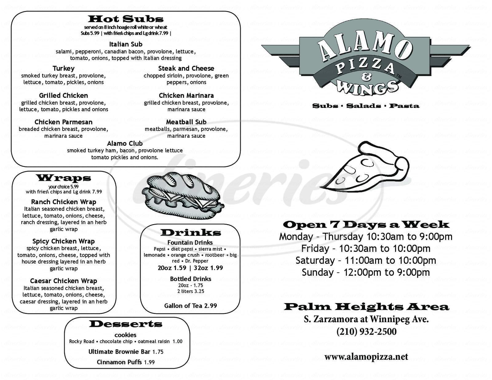 menu for Alamo Pizza