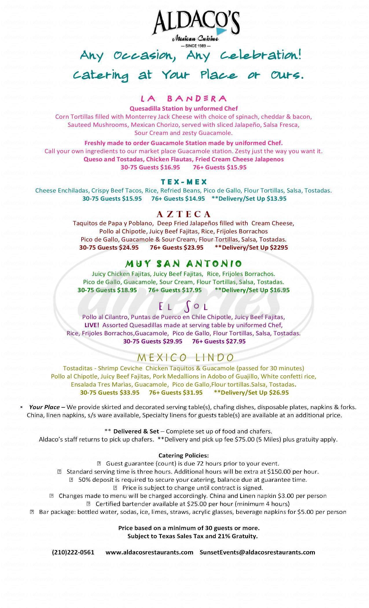 menu for Aldaco's Mexican Cuisine