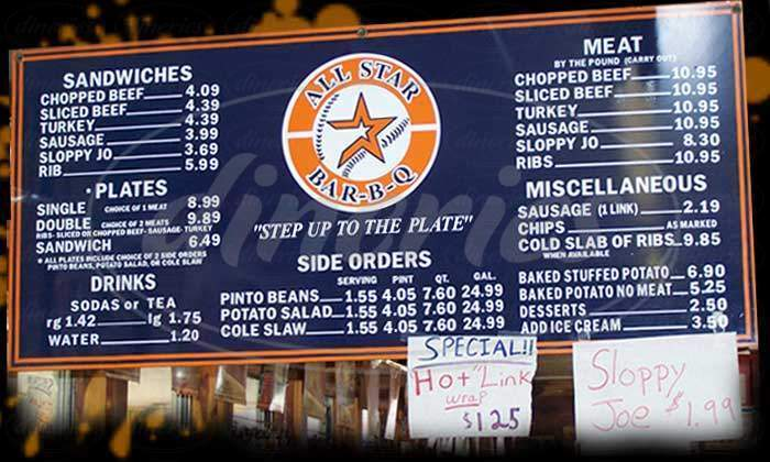 menu for All Star Bar B Q