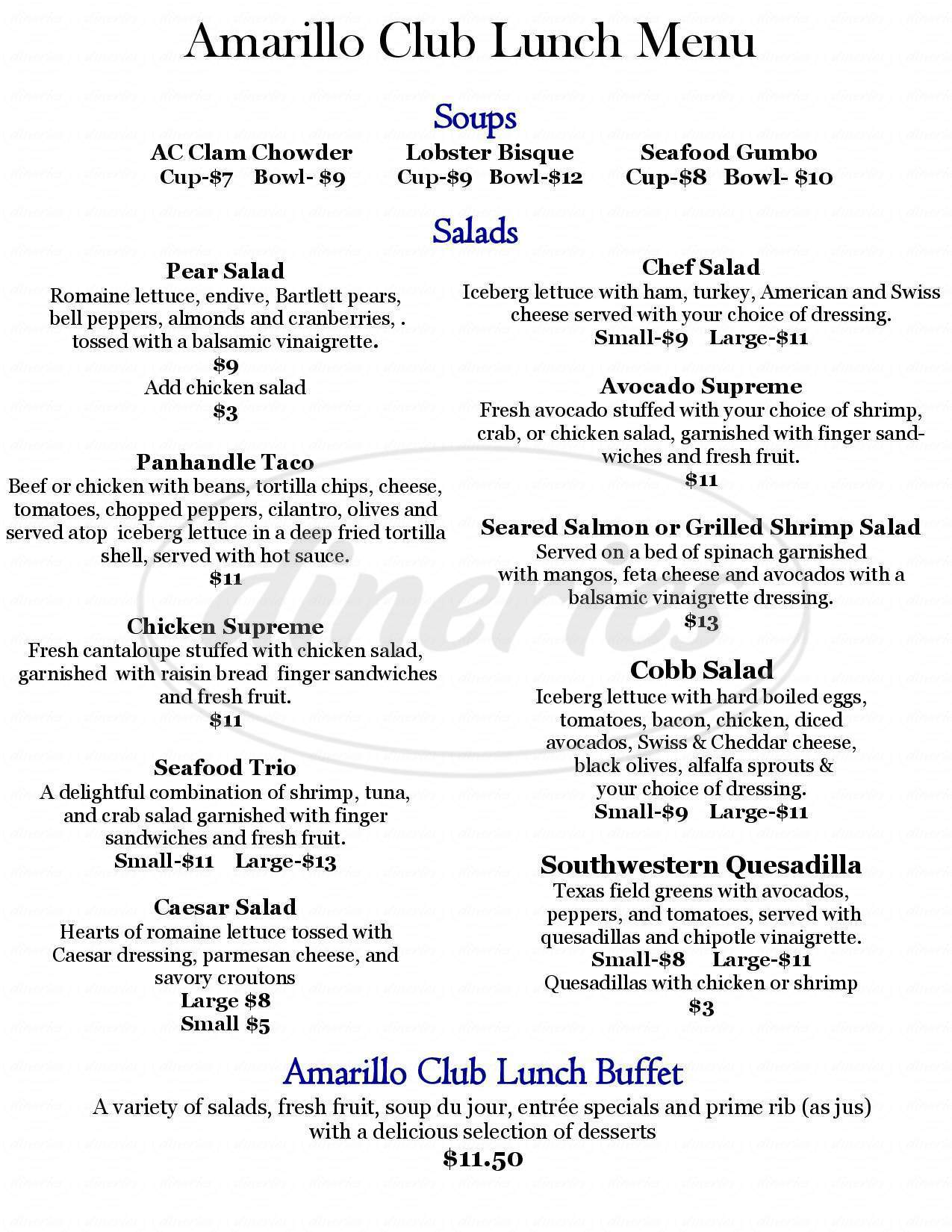 menu for Amarillo Club