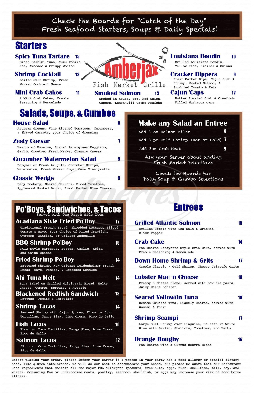 menu for Amberjax Fish Market Grille