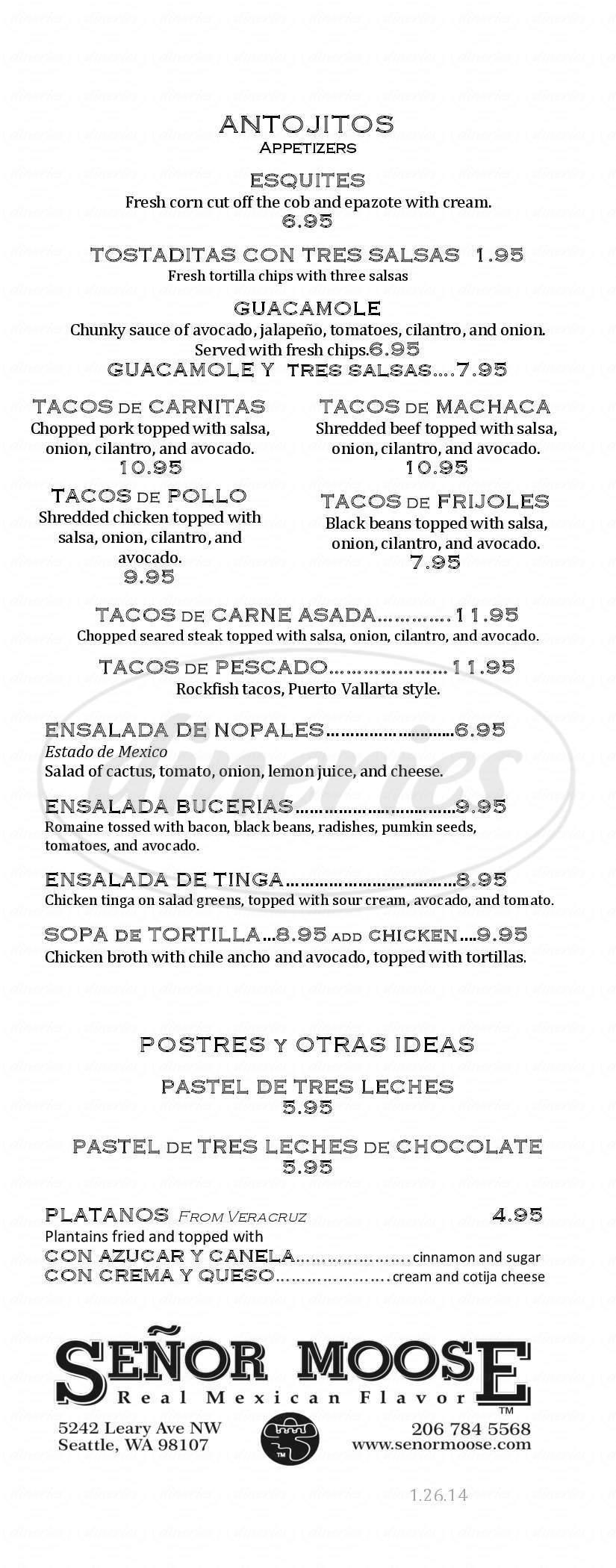 menu for Señor Moose Café