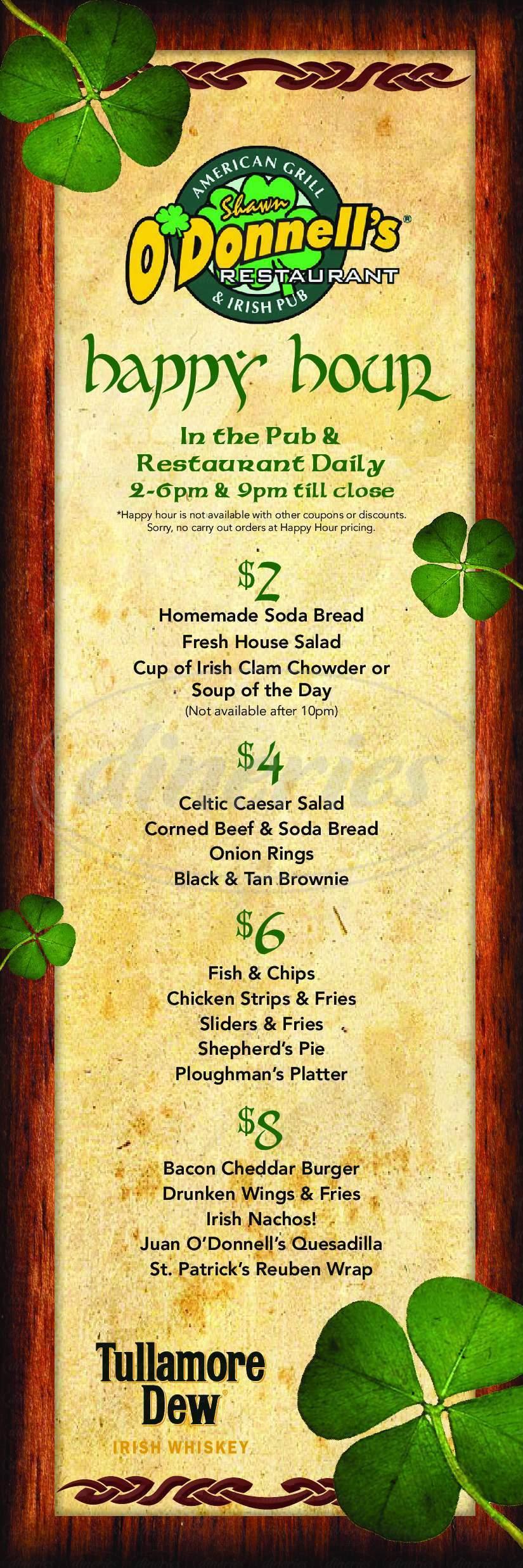 menu for Shawn O'Donnell's American Grill & Irish Pub