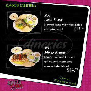 menu for Shish Kabob