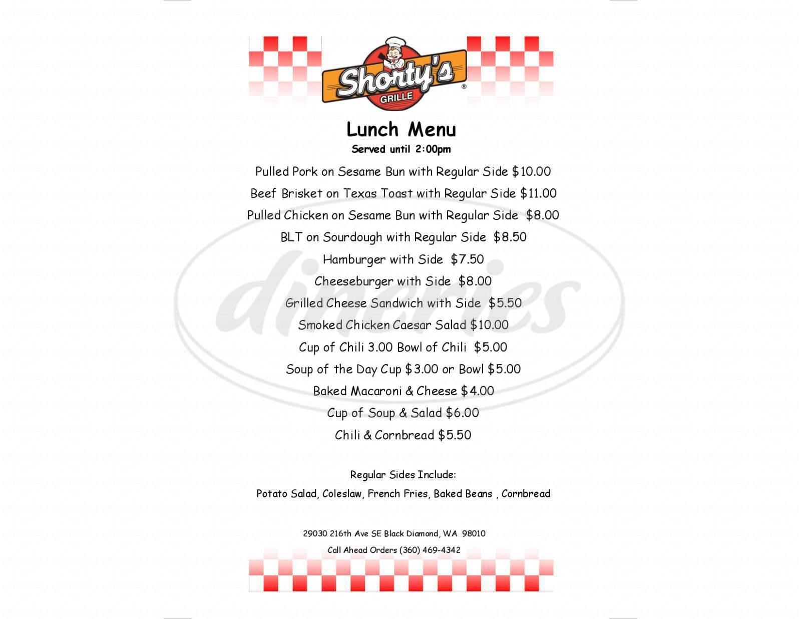 menu for Shorty's Grub House