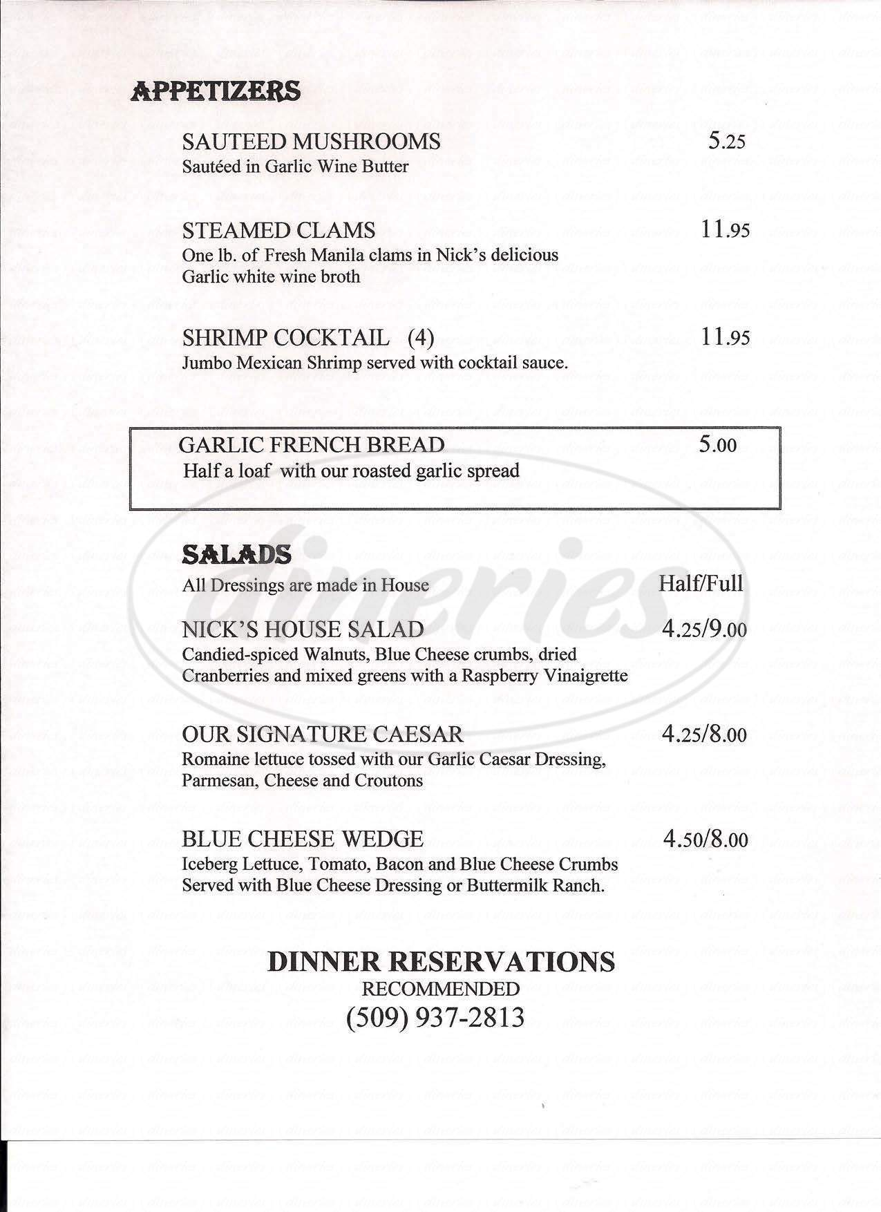 menu for Silver Beach Resort
