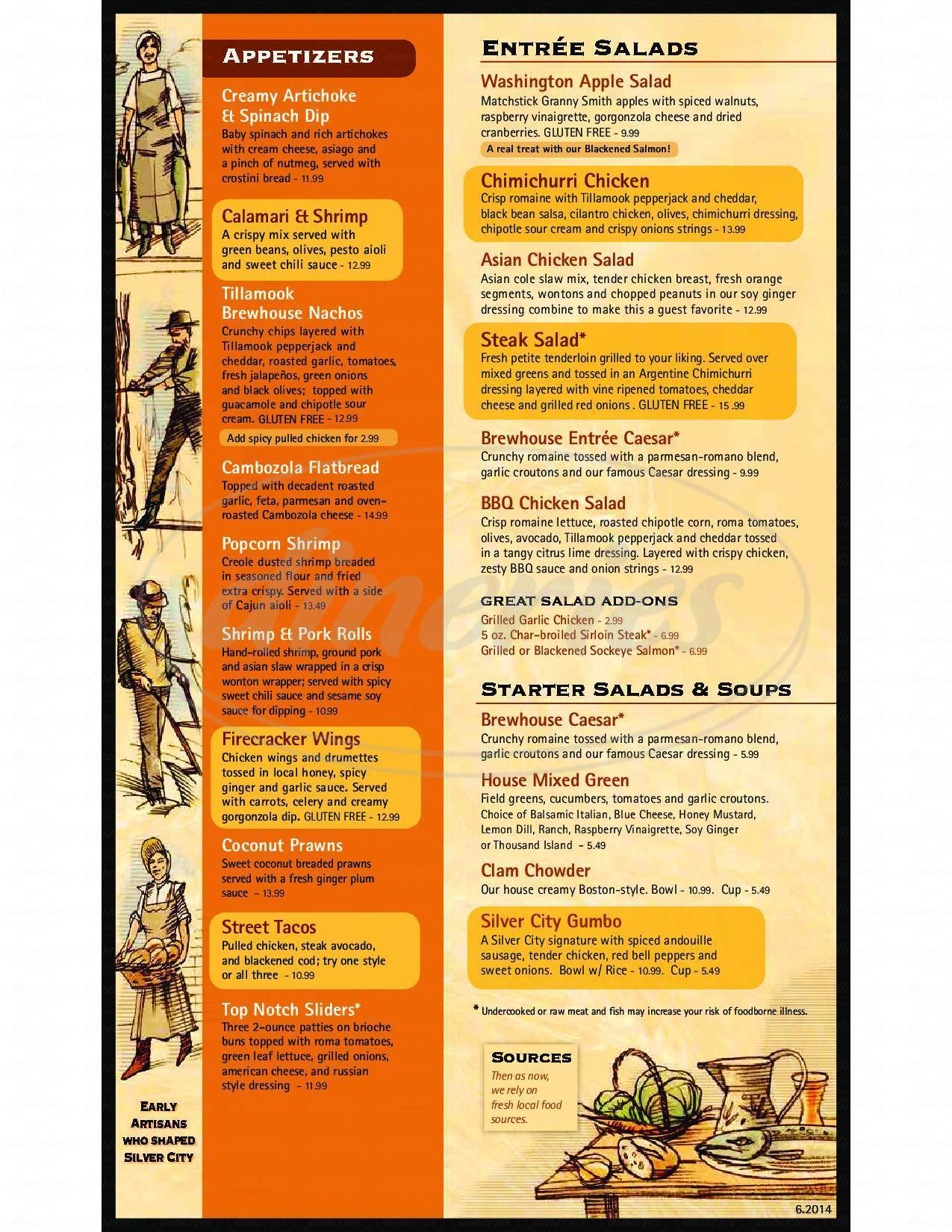menu for Silver City Restaurant & Brewery