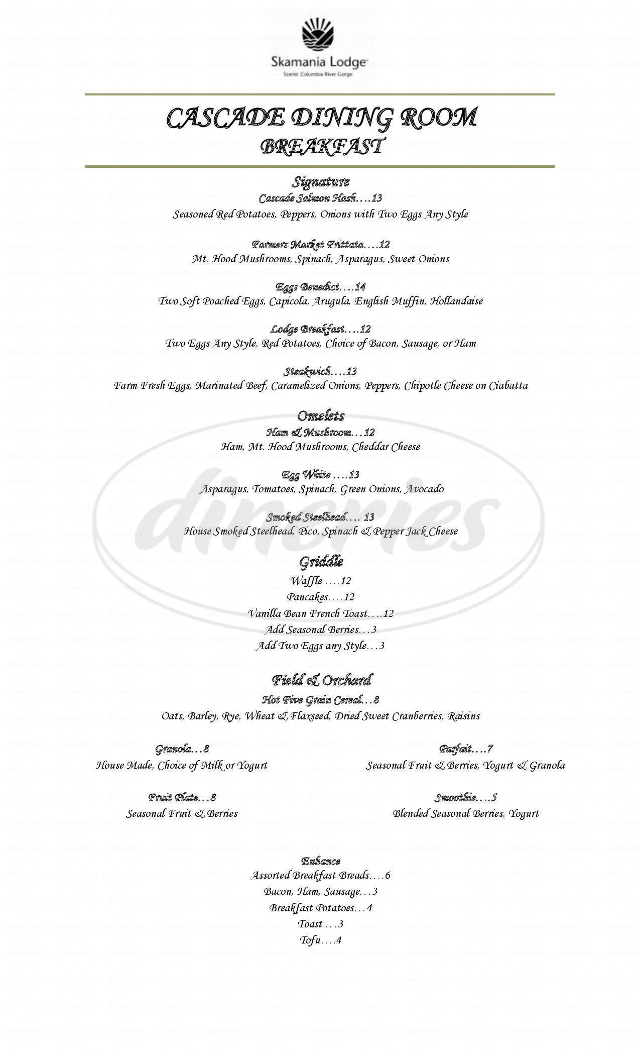 menu for The Cascade Room
